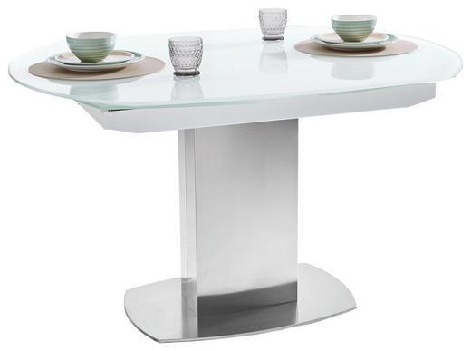 ESSTISCH in Glas, Holzwerkstoff, Metall - Edelstahlfarben/Weiß, Design, Glas/Holzwerkstoff (130/105/77cm) - Novel