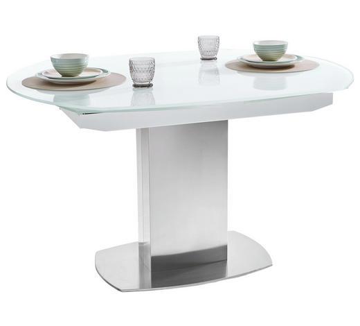 JEDILNA MIZA, bela, nerjaveče jeklo  - bela/nerjaveče jeklo, Design, kovina/steklo (130/105/77cm) - Novel