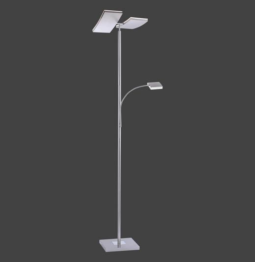 LED-STEHLEUCHTE - Silberfarben, Design, Kunststoff/Metall (62/61/196cm)
