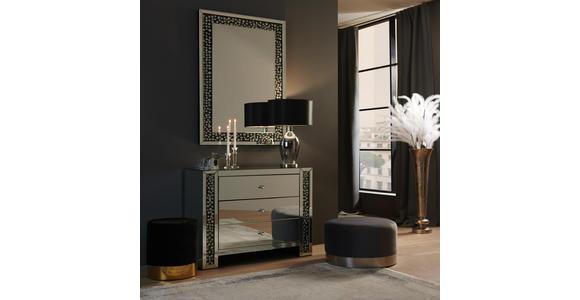 KOMMODE 95,5/80,5/40 cm  - Silberfarben/Schwarz, Design, Glas/Holzwerkstoff (95,5/80,5/40cm) - Xora
