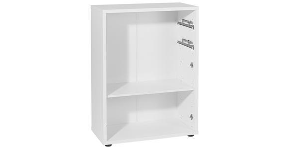 AKTENREGAL - Silberfarben/Weiß, KONVENTIONELL, Holzwerkstoff/Kunststoff (81,8/110,5/40cm) - Voleo
