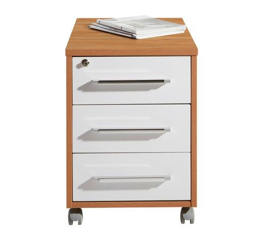 ROLLCONTAINER Weiß, Buchefarben - Buchefarben/Silberfarben, Design, Kunststoff (43/59/65cm)