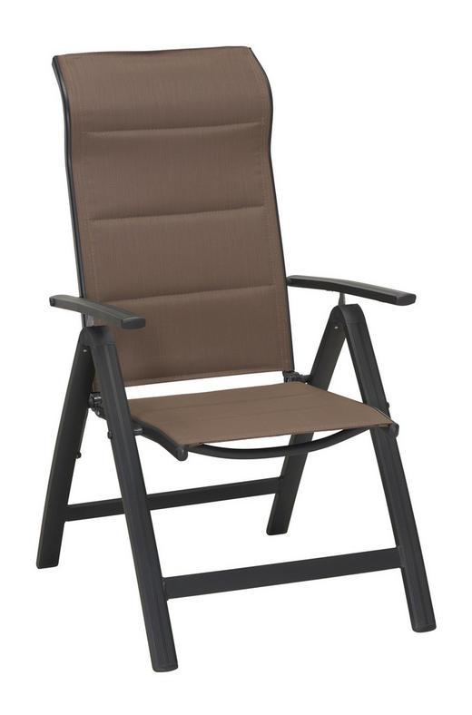 TRÄDGÅRDSKLAPPSTOL - mullvadsfärgad/gråbrun/antracit, Klassisk, metall/textil (58/110/68cm) - AMBIA GARDEN