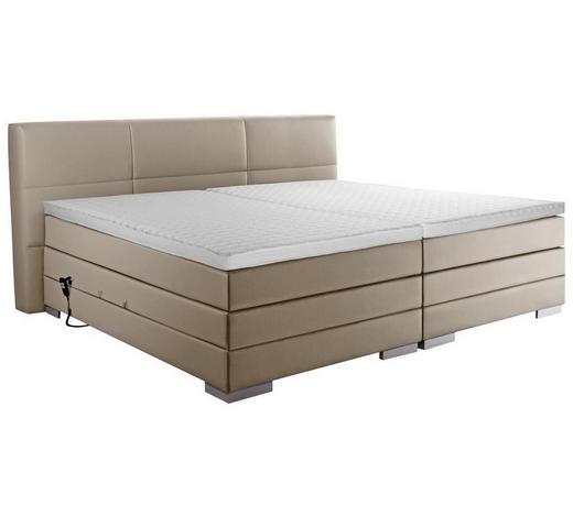 BOXSPRINGBETT 'PRINZ' H2 Lederlook 200/200 cm  INKL. Matratze, gepolstertes Kopfteil, Topper, motorische Verstellbarkeit  - Schlammfarben/Silberfarben, MODERN, Textil (200/200cm)