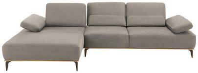 WOHNLANDSCHAFT Grau Flachgewebe  - Beige/Bronzefarben, Design, Textil/Metall (178/298cm) - Valnatura