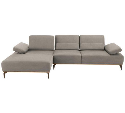 WOHNLANDSCHAFT in Textil Grau - Beige/Bronzefarben, Design, Textil/Metall (178/298cm) - Valnatura