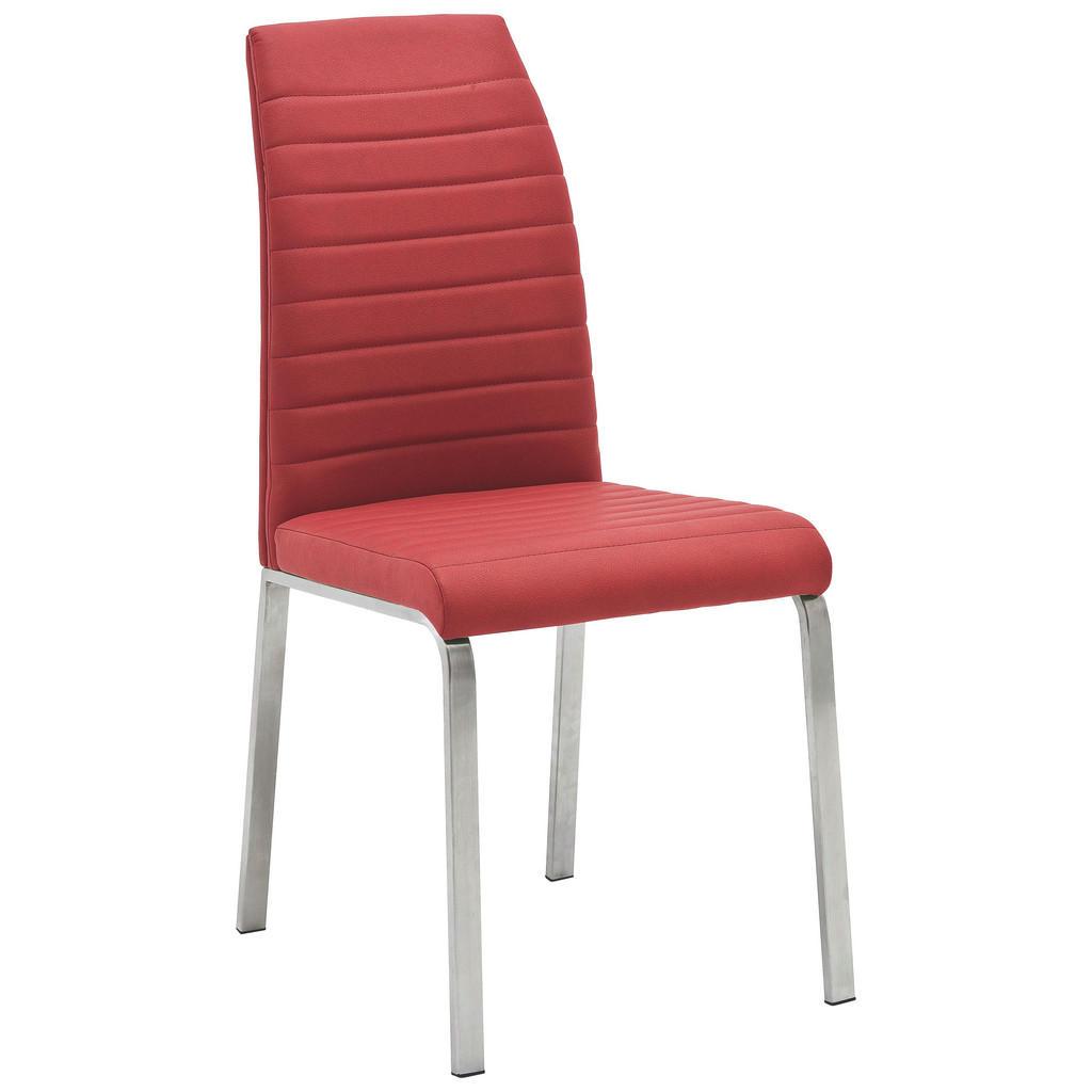 Stuhl In Metall, Textil Edelstahlfarben, Rot