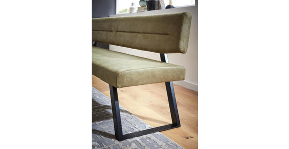 SITZBANK 230/85/58 cm  in Schwarz, Olivgrün  - Schwarz/Olivgrün, Design, Textil/Metall (230/85/58cm) - Dieter Knoll
