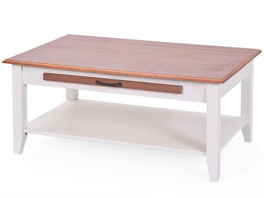 COUCHTISCH Kiefer massiv rechteckig Braun, Weiß - Braun/Weiß, LIFESTYLE, Holz (100/60/45cm) - Carryhome