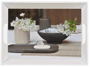 SERVERINGSBRICKA - beige/svart, Klassisk, plast (34,5/46cm) - Homeware