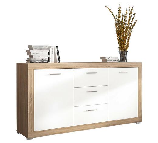 KOMODA SIDEBOARD, bílá, barvy dubu - bílá/barvy stříbra, Konvenční, kompozitní dřevo/umělá hmota (160/84/41cm) - Carryhome