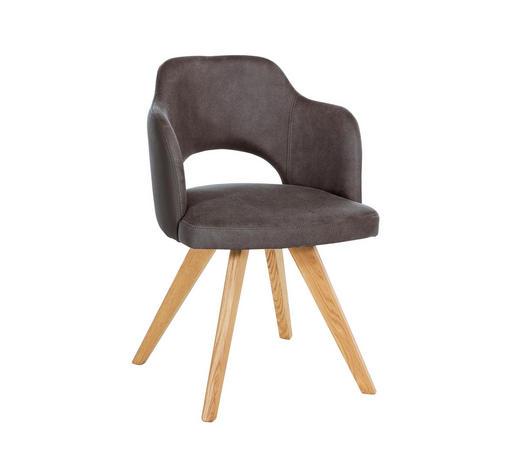 STUHL Wildeiche massiv Grau, Eichefarben  - Eichefarben/Grau, KONVENTIONELL, Holz/Textil (53/80/58cm) - Voleo