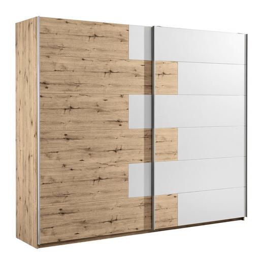 SCHWEBETÜRENSCHRANK in Eichefarben, Weiß - Eichefarben/Alufarben, Design, Holzwerkstoff/Metall (270/225/61cm) - Carryhome