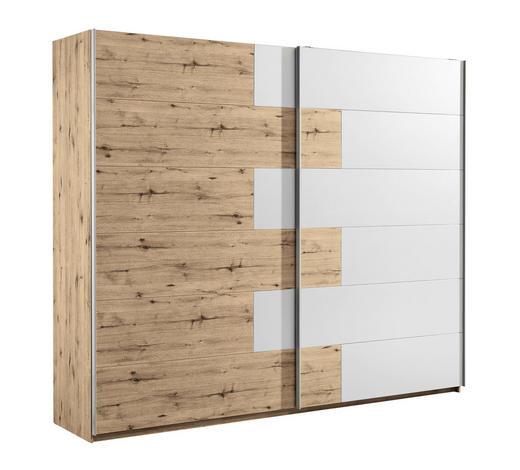 SCHWEBETÜRENSCHRANK in Weiß, Eichefarben - Eichefarben/Alufarben, Design, Holzwerkstoff/Metall (270/225/61cm) - Carryhome