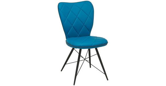 STUHL in Metall, Textil Blau, Schwarz - Blau/Schwarz, Design, Textil/Metall (49/90/61cm) - Hom`in