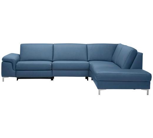 WOHNLANDSCHAFT in Leder Blau - Blau/Alufarben, Design, Leder/Metall (291/273cm) - Beldomo Premium