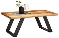 COUCHTISCH massiv rechteckig Eichefarben - Eichefarben/Schwarz, Design, Holz/Metall (115/65/45cm) - Linea Natura