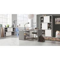 KOTNA PISALNA MIZA leseni material siva, bela  - siva/bela, Design, kovina/leseni material (150/74/140cm) - Carryhome