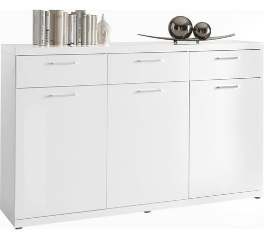 KOMMODE Hochglanz, lackiert Weiß  - Chromfarben/Weiß, Design, Holzwerkstoff/Kunststoff (172,6/106,6/40cm) - Carryhome