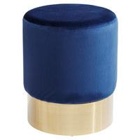 HOCKER Samt Dunkelblau - Goldfarben/Schwarz, Trend, Textil/Metall (35/42/35cm) - Kare-Design