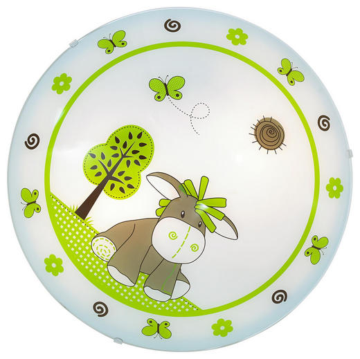 OTROŠKA SVETILKA DIEGO - bela/zelena, Konvencionalno, kovina/steklo (39,5/10cm) - My Baby Lou