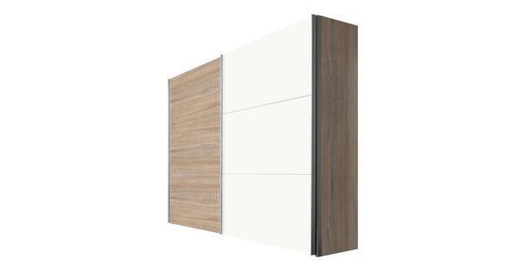 SCHWEBETÜRENSCHRANK in Sonoma Eiche, Weiß - Alufarben/Weiß, KONVENTIONELL, Holzwerkstoff/Metall (250/216/68cm) - Hom`in