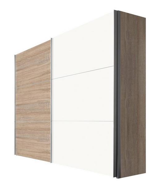 SCHWEBETÜRENSCHRANK 2-türig Sonoma Eiche, Weiß - Alufarben/Weiß, KONVENTIONELL, Holzwerkstoff/Metall (250/216/68cm) - Hom`in