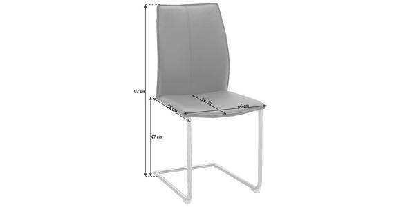SCHWINGSTUHL in Metall, Leder Schwarz, Edelstahlfarben  - Edelstahlfarben/Schwarz, Design, Leder/Metall (1/1/1cm) - Dieter Knoll
