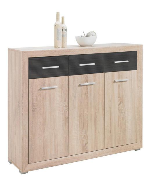 KOMMODE Eichefarben, Pinienfarben - Eichefarben/Silberfarben, Design, Kunststoff (126/105/40cm) - Boxxx