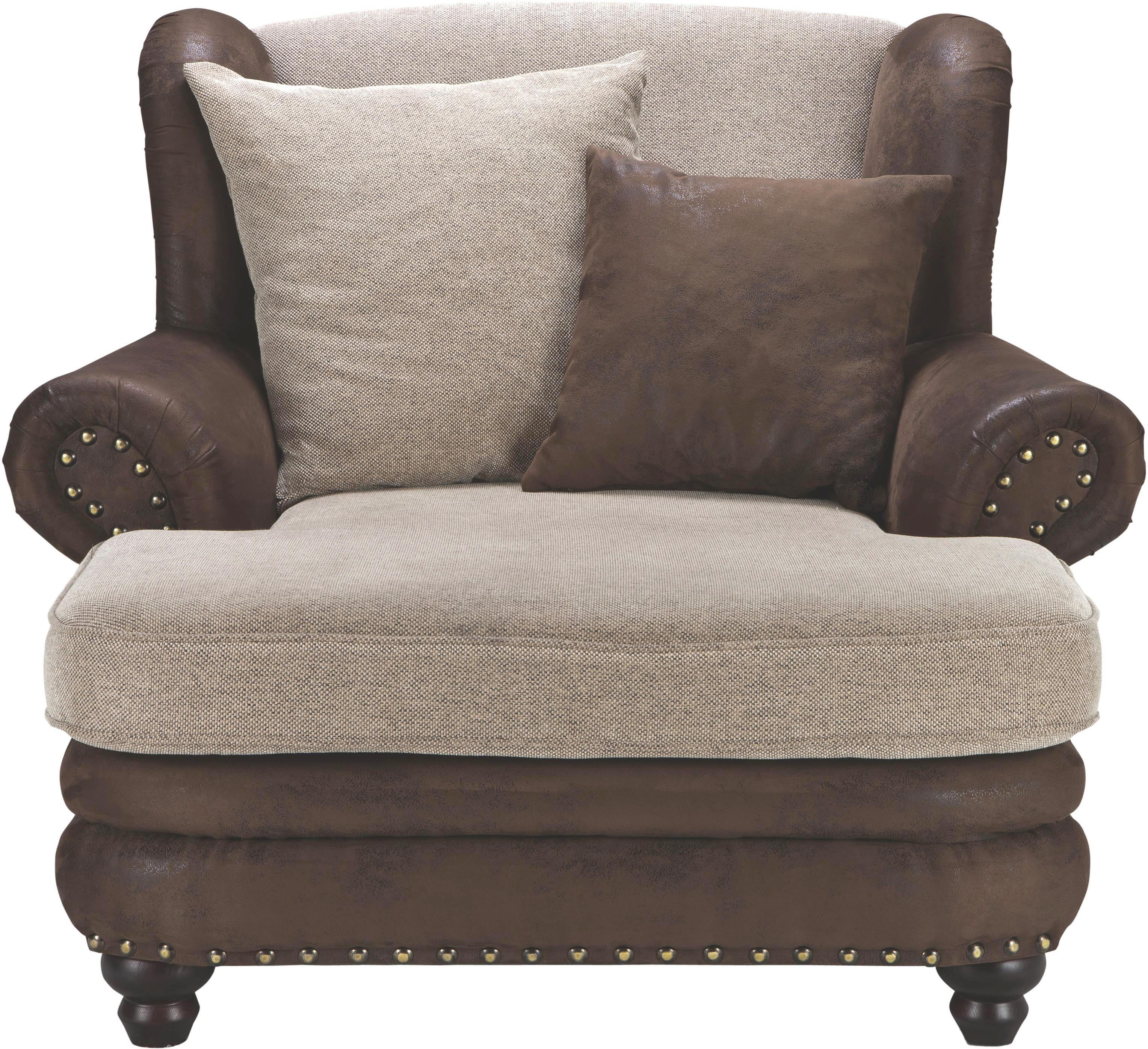 FOTELJA - bež/smeđa, Lifestyle, tekstil/drvo (125/100/140cm) - LANDSCAPE