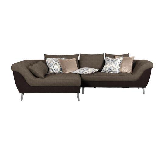 WOHNLANDSCHAFT Braun, Dunkelbraun Flachgewebe - Dunkelbraun/Braun, Design, Holz/Textil (175/313cm) - Carryhome