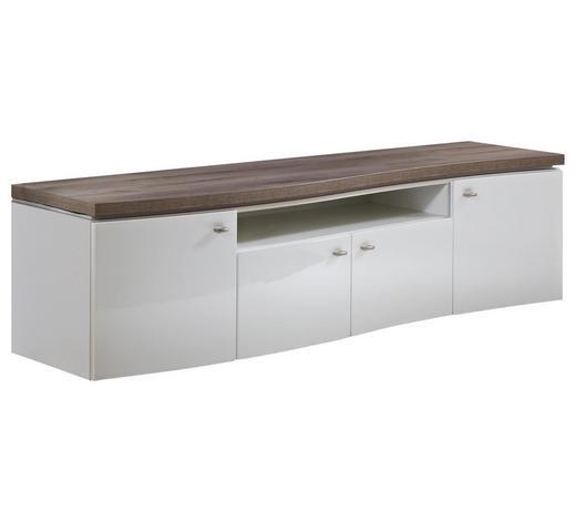 KOMODA LOWBOARD, bílá, barvy dubu - šedá/bílá, Design, kov/kompozitní dřevo (199,9/53/52cm) - Stylife