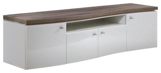 LOWBOARD Hochglanz, melaminharzbeschichtet Eichefarben, Weiß - Eichefarben/Weiß, Design, Holzwerkstoff/Metall (199,9 53 52cm) - Stylife