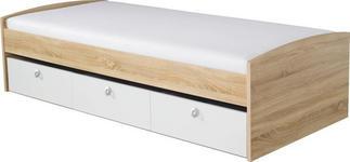 STAURAUMBETT 90/200 cm  in Weiß, Eichefarben   - Eichefarben/Weiß, Design, Holzwerkstoff (90/200cm) - Carryhome