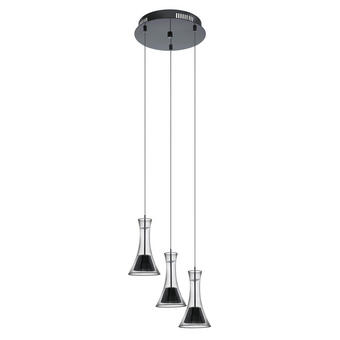 LED-HÄNGELEUCHTE - Transparent/Schwarz, MODERN, Glas/Metall (35/110cm)