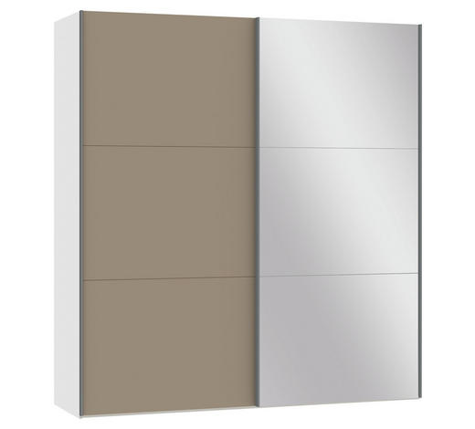 SCHWEBETÜRENSCHRANK 2-türig Schwarz, Hellbraun  - Hellbraun/Silberfarben, Design, Glas/Metall (202,5/220/46cm) - Jutzler