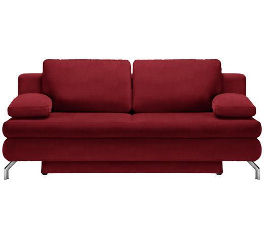 SCHLAFSOFA in Textil Rot  - Chromfarben/Rot, Design, Textil/Metall (200/91/92cm) - Novel