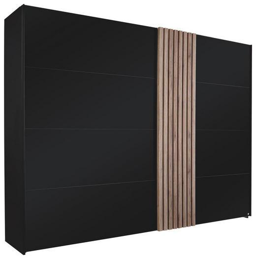 SCHWEBETÜRENSCHRANK 2-türig Eichefarben, Schwarz - Eichefarben/Schwarz, Design, Glas/Holzwerkstoff (280/223/68cm) - Novel