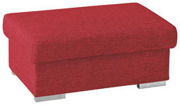 HOCKER in Textil Rot - Chromfarben/Rot, KONVENTIONELL, Textil/Metall (100/45/60cm) - Novel