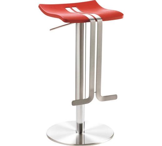 BARHOCKER in Rot, Edelstahlfarben - Edelstahlfarben/Rot, Design, Kunststoff/Metall (36/58-85/34cm)