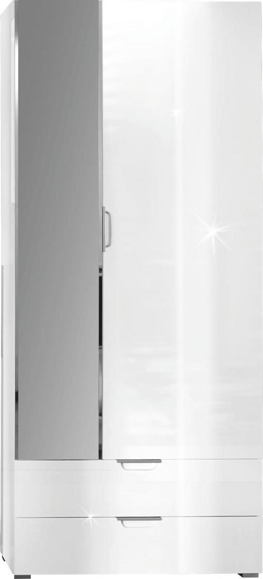 GARDEROBENSCHRANK Hochglanz Weiß - Alufarben/Weiß, Design, Glas/Holz (85/200/35cm) - XORA