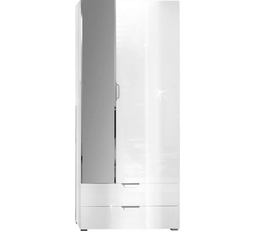 GARDEROBENSCHRANK 85/200/35 cm  - Alufarben/Weiß, Design, Glas/Holz (85/200/35cm) - Xora