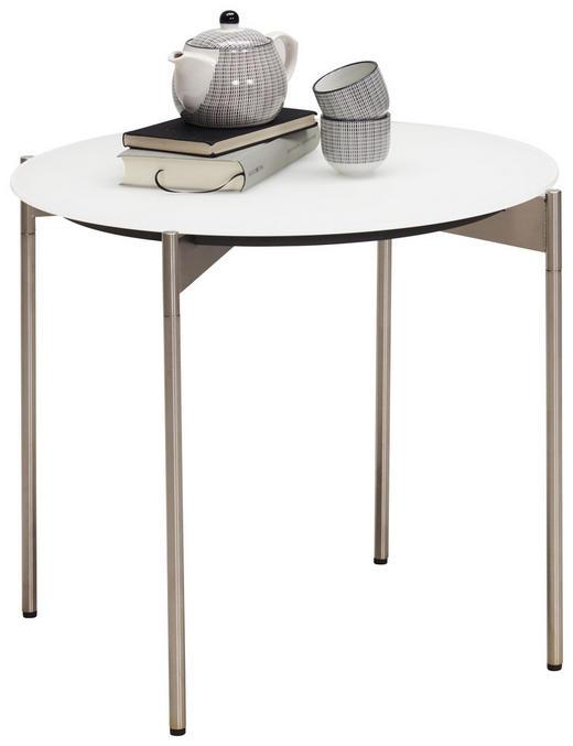 BEISTELLTISCH rund Edelstahlfarben, Weiß - Edelstahlfarben/Weiß, Design, Glas/Metall (55/49cm) - Venjakob