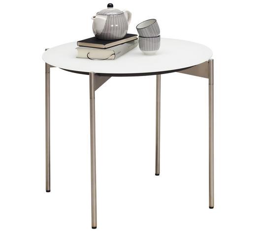 BEISTELLTISCH in Weiß, Edelstahlfarben - Edelstahlfarben/Weiß, Design, Glas/Metall (55/49cm) - Venjakob
