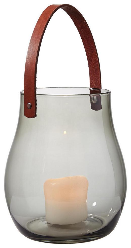 WINDLICHT - Braun/Grau, Basics, Glas/Leder (19 22 cm) - Leonardo