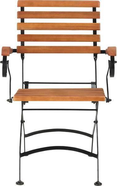 GARTENKLAPPSESSEL Eukalyptusholz Stahl Schwarz, Teakfarben - Schwarz/Teakfarben, ROMANTIK / LANDHAUS, Holz/Metall (59/85/60cm) - AMBIA GARDEN