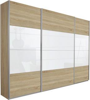SKJUTDÖRRSGARDEROB - vit/Sonoma ek, Klassisk, metall/glas (315/229/62cm) - Xora