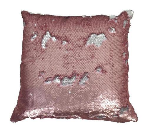 ZIERKISSEN 40/40 cm  - Silberfarben/Rosa, Textil (40/40cm)