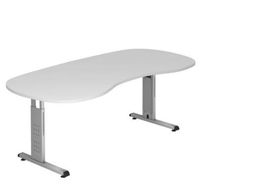 SCHREIBTISCH - Silberfarben/Weiß, KONVENTIONELL, Holzwerkstoff/Metall (100/200cm)