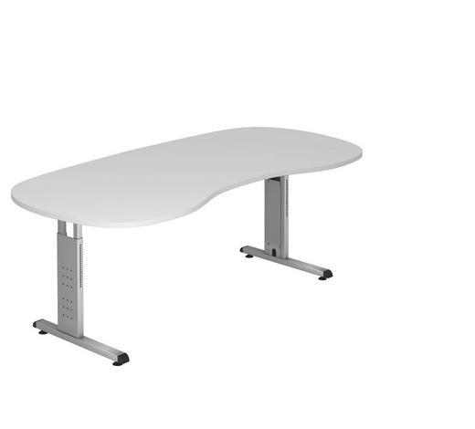 SCHREIBTISCH in Metall, Holzwerkstoff  - Silberfarben/Weiß, KONVENTIONELL, Holzwerkstoff/Metall (100/200cm)